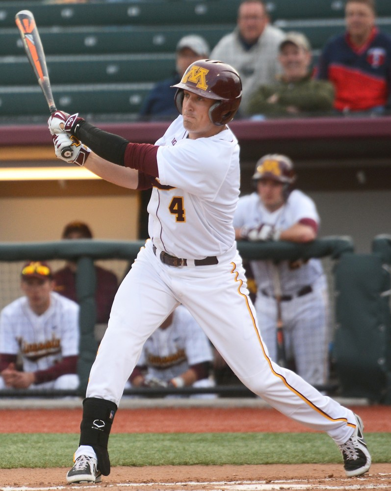 Gophers infielder Connor Shaefbauer bats against Kansas State on April 28, 2015.