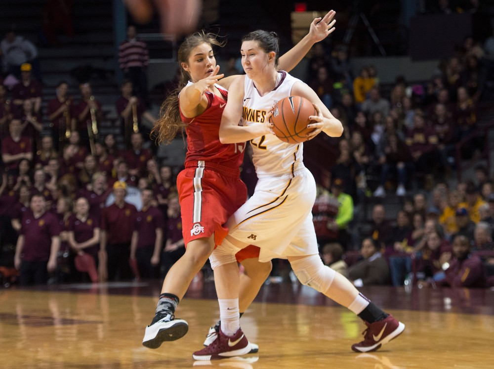 Gophers guard Joanna Hedstrom runs the ball at Williams Arena on Wednesday.