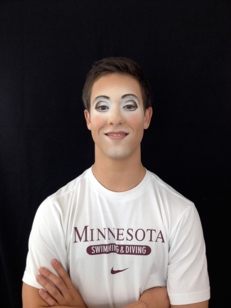 Former Minnesota diver Mikey Ross poses in partial stage makeup. Ross joined Cirque Du Soleil after graduation as an acrobat and performs in the show,