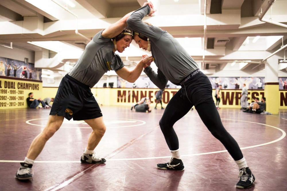 During a post-practice sparring match, redshirt freshman Skyler Petry and junior Sam Brancale wrestle