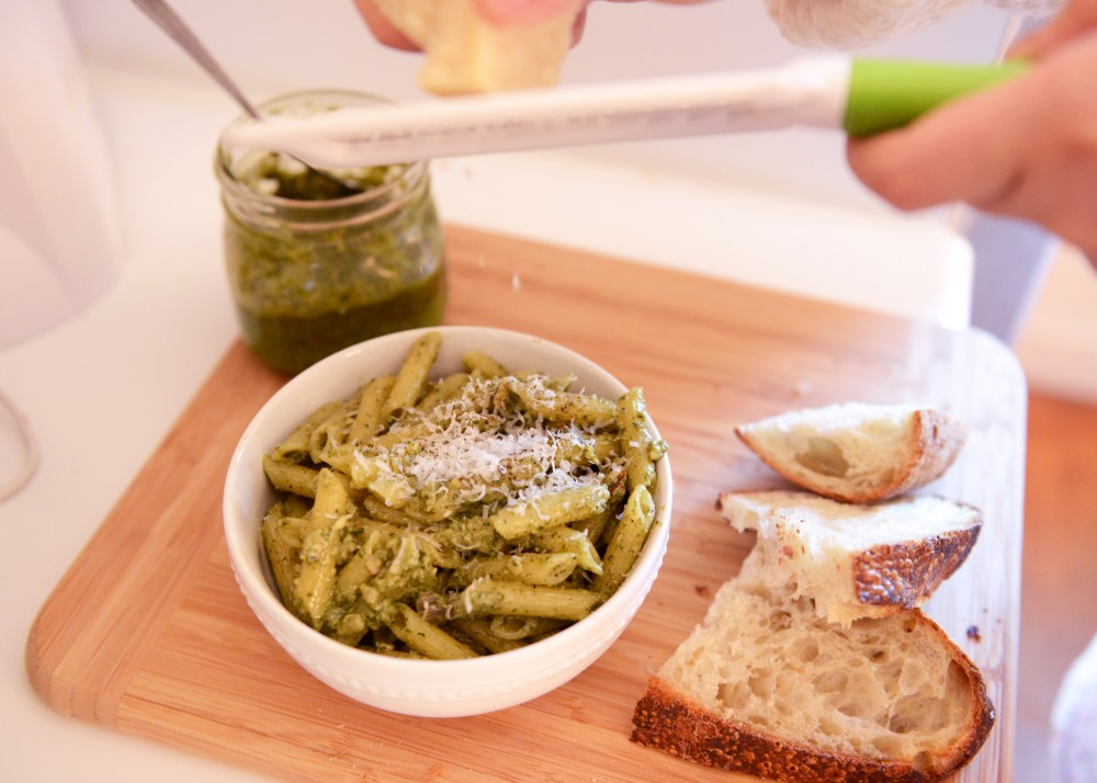Topped with parmesan cheese, this pesto sauce is the perfect addition to bread and pasta.