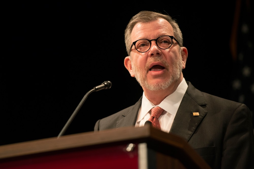 President Eric Kaler delivers his State of the University address at the Coffman Memorial Union Theater on Thursday.