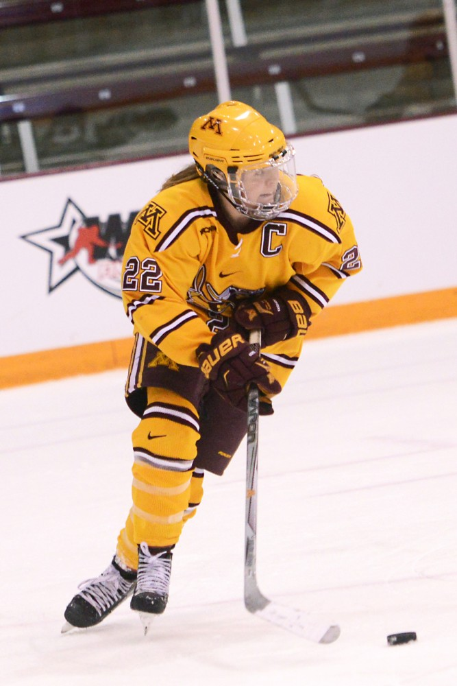 Gophers forward Hannah Brandt drives the puck Saturday at the 2016 WCHA Final Face-off Semifinal game at Ridder Arena. Minnesota defeated No. 8 seed North Dakota 2-0 to advance to the championship game.