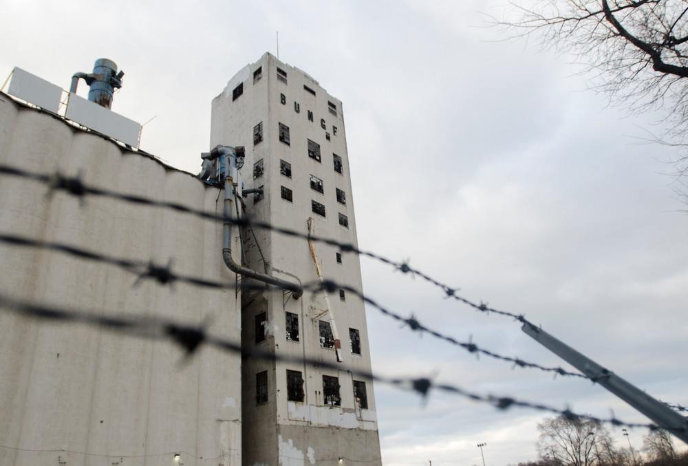 The abandoned Bunge Grain Elevator sits in Southeast Como on Tuesday. The building may be partially demolished to build artist housing, while preserving the tower and part of the silos.