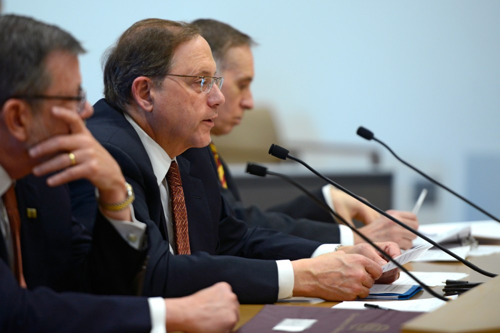 Vice President for Research Brian Herman presents an update and review of human subjects research standards at the University of Minnesota to the Senate's Higher Education Committee in the Minnesota Senate Building on March 10.