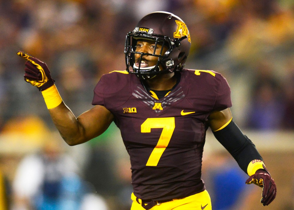 Damarius Travis at TCF Bank Stadium on Sept. 3, 2015, where the Gophers faced TCU. The game was Travis last of the 2015 season after he sustained a hamstring injury during a punt-return.
