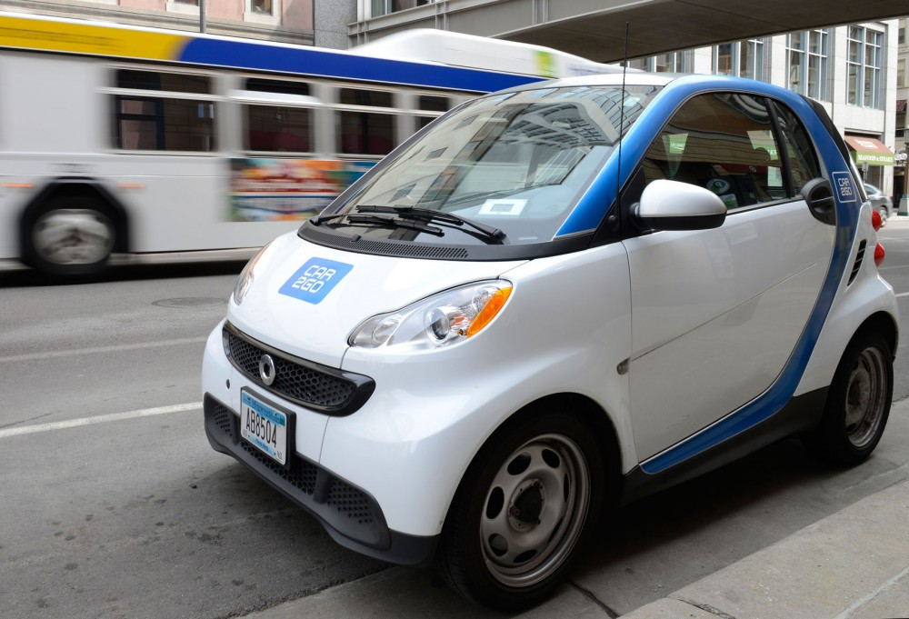 A Car2Go Smart car sits parked in downtown Minneapolis on 9th St. S on Monday afternoon.