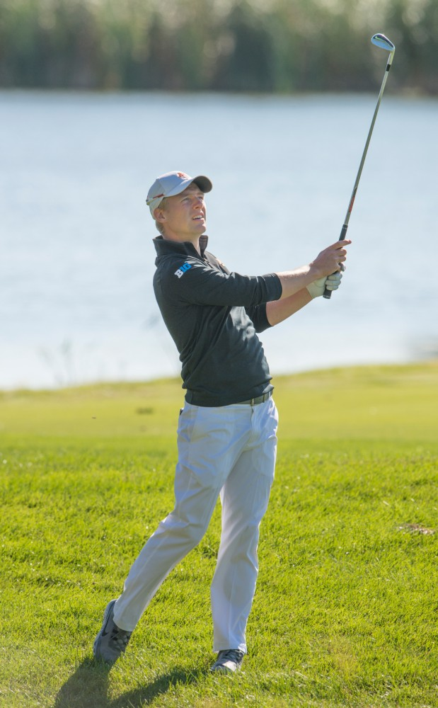 Sophomore Rúnar Arnórsson plays at the Windsong Golf Club during the Gopher Invitational on Sept. 13, 2015.