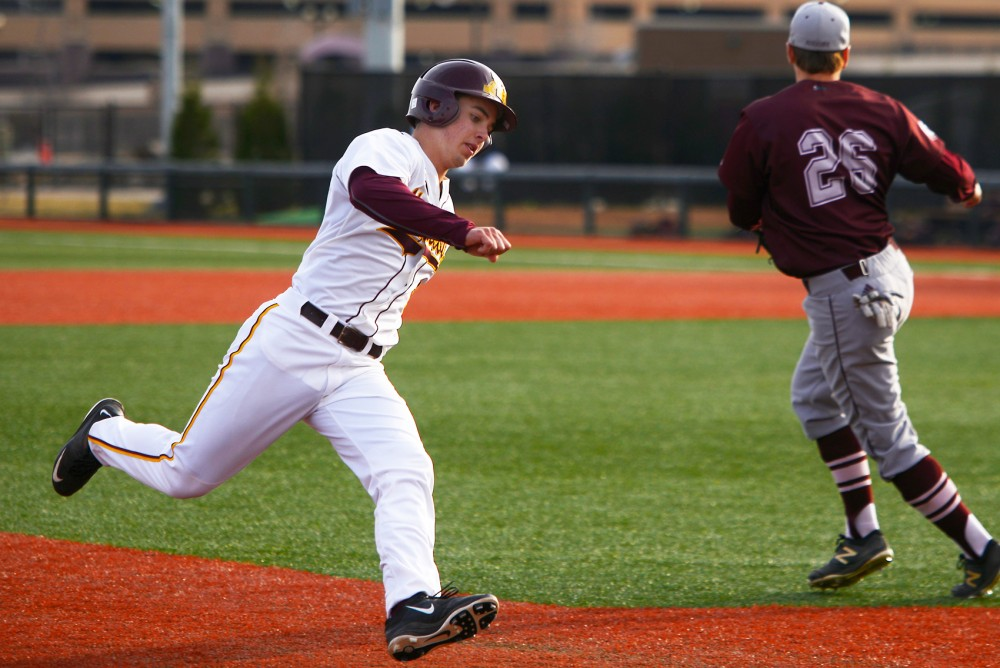 Freshman infielder Terrin Vavra crosses third base at Siebert field, Tuesday, March 22.