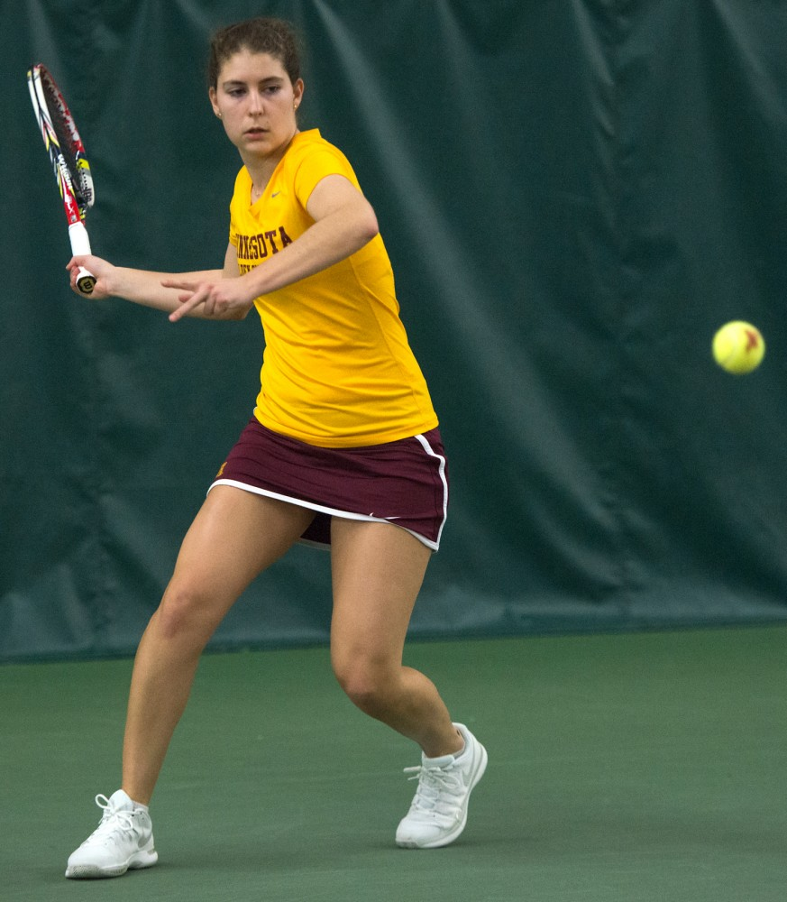 Senior Paula Rincon-Otero competes against Iowa State at the Baseline Tennis Center on Sunday, Mar. 6.