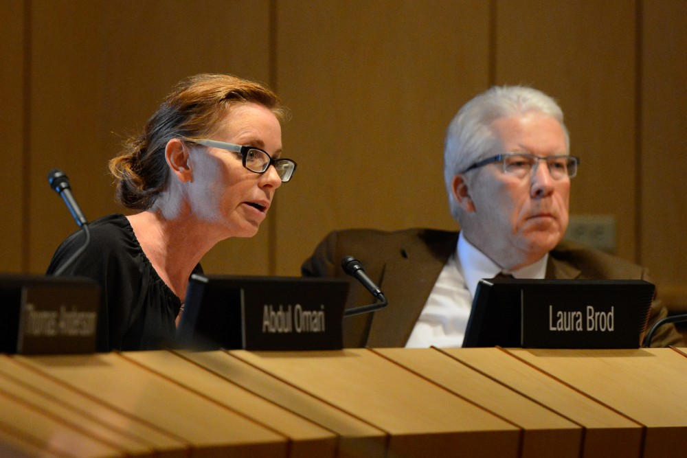 University of Minnesota Regent Laura Brod speaks about a proposal put forth by regent Michael Hsu regarding the salaries of high paid falculty during the board of regents meeting in the Mcnamara Alumni Center on Thursday morning.