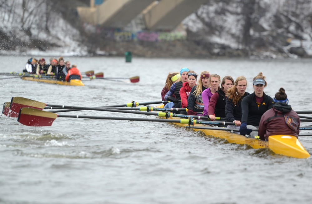 The rowing team practices on the Mississippi River on Mar. 23, 2015.