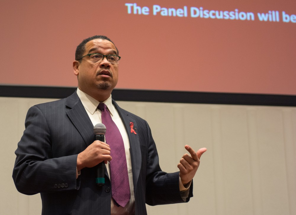 Representative Keith Ellison speaks on the ramifications of gun violence before last Tuesday's panel put on by Active Response Coalition for Public Health
