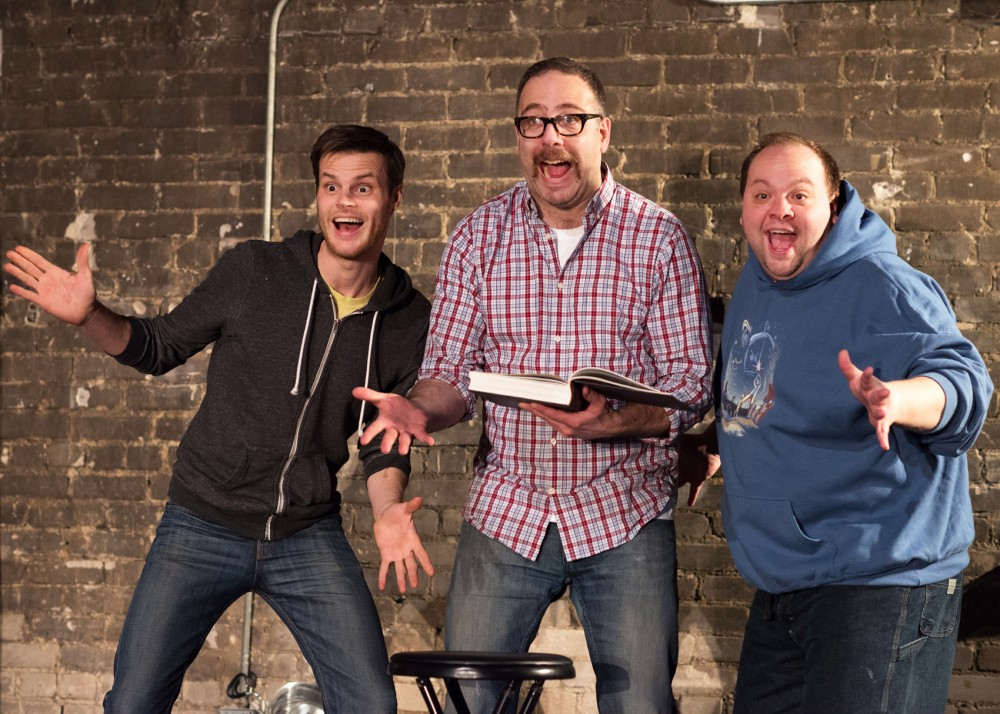 Left to right, Ryan Lear, Mike Fotis and Jason Ballweber of Four Humors Comedy Theater rehearse We Gotta Cheer Up Gary in the Southern Theater on Wednesday night. The show runs from April 8-22.
