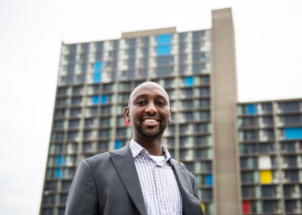 Mohamud Noor poses for portraits near Riverside Plaza on Tuesday. Noor is running for Minnesota State Representative in District 60B.