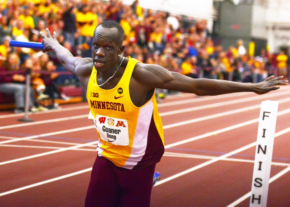 Goaner Deng crosses the finish line of the men's 400-meter relay race at the University of Minnesota Field House on Jan. 23.