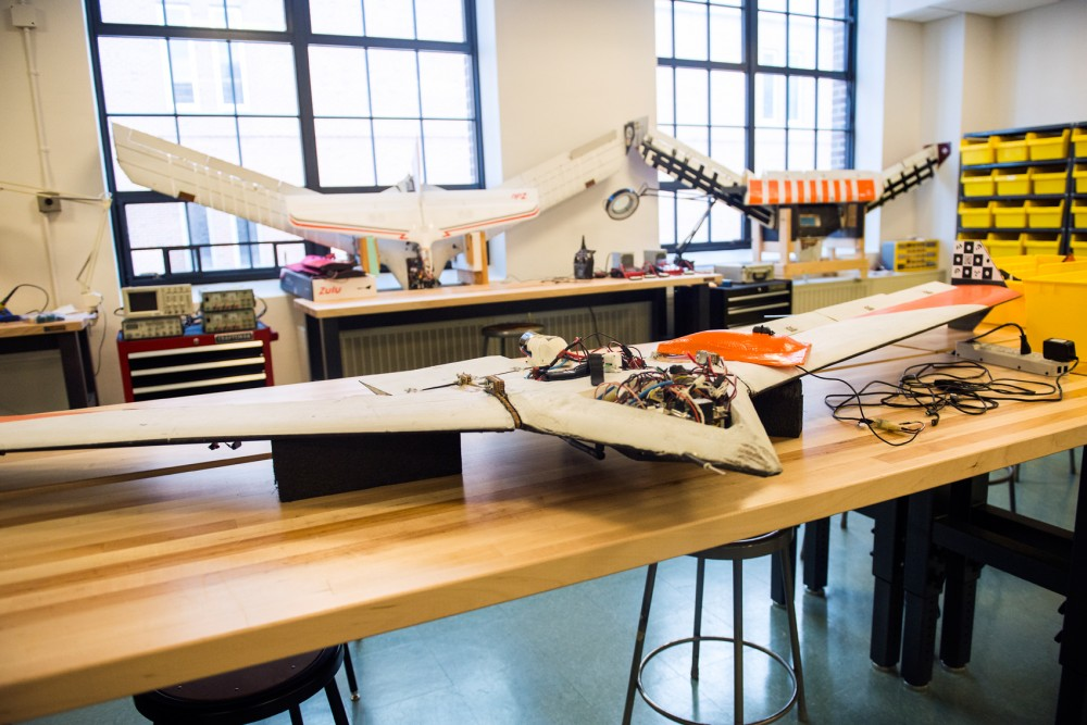 The Hati drone, used to engineer lighter, more efficient aircraft as part of a NASA research program, sits in Ackerman Hall on Monday. The Uninhabited Aerial Vehicle (UAV) labs on campus carry drones that perform a wide variety of tasks.