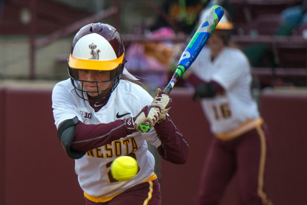 Gophers infielder Danielle Parlich prepares to hit the ball Tuesday during the Border Battle Double-Header at Jane Sage Cowles Stadium. The gophers lost both games to fall 1-7 and 3-6 to Wisconsin.