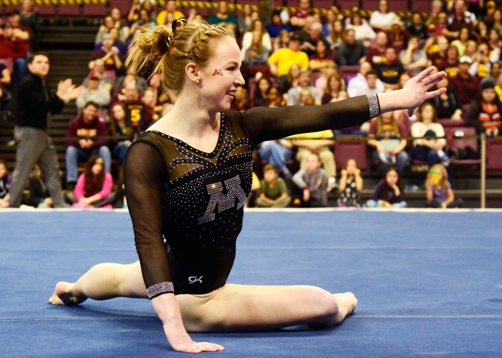 Senior Lindsay Mable finishes her floor routine during Saturday's regular season finale at the Sports Pavilion on Feb. 27.