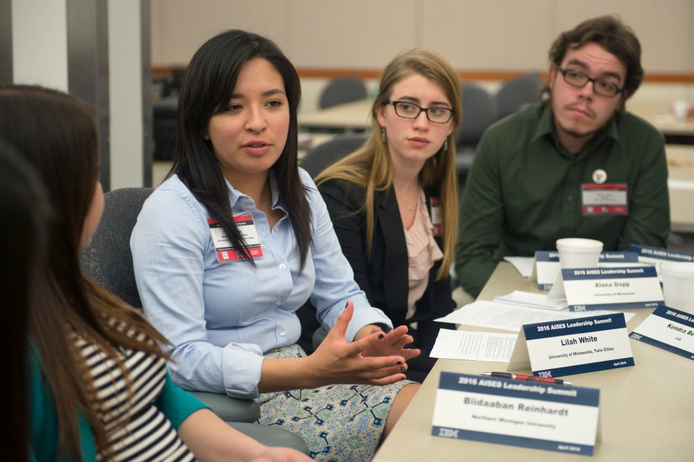 University of Minnesota student Lilah White speaks to a small group during a session at the American Indian Science and Engineering Societys Leadership Summit at IBM in Rochester on Saturday.