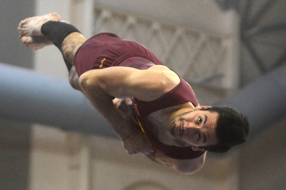 Gophers Junior Zach Liebler competes on the vault at the Sports Pavilion on Mar. 5, 2016.