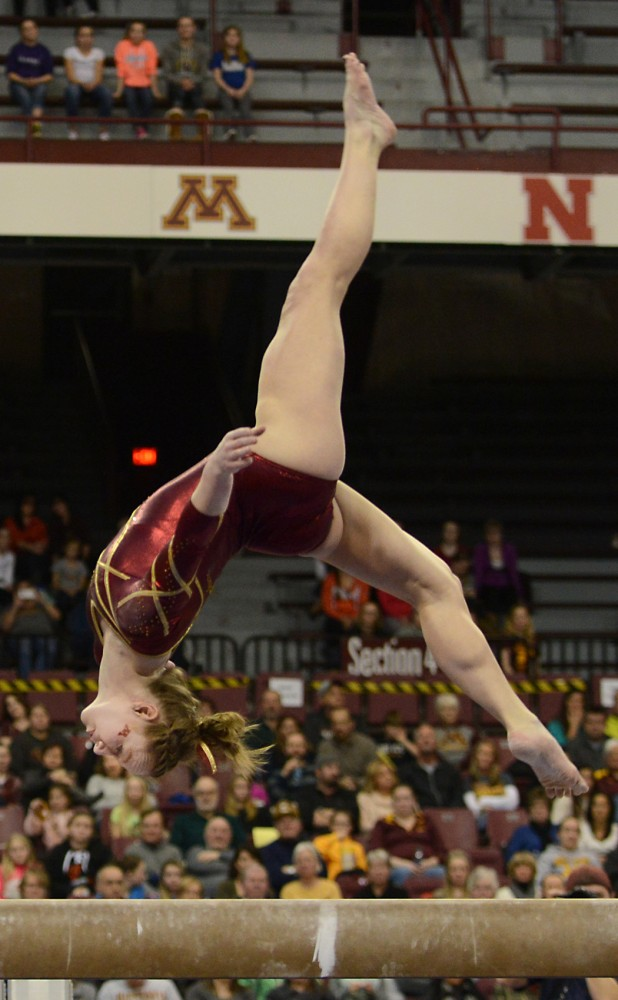 Gophers senior Lindsay Mable competes on the balance beam at the Sports Pavilion on Jan. 23, 2016.