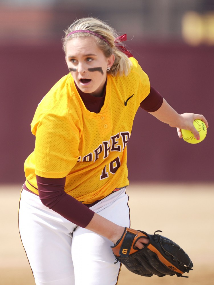 Minnesota's Nikki Anderson pitches during a doubleheader against Wisconsin on April 7, 2013, at Jane Sage Cowles Stadium.