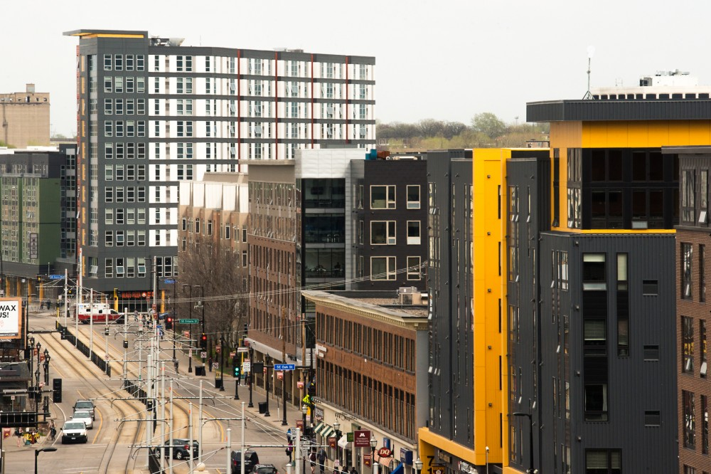 A concentration of luxury student apartment complexes, including WaHu, Stadium Village Flats, The 700 on Washington and The Station, line the Washington Avenue corridor in Stadium Village.