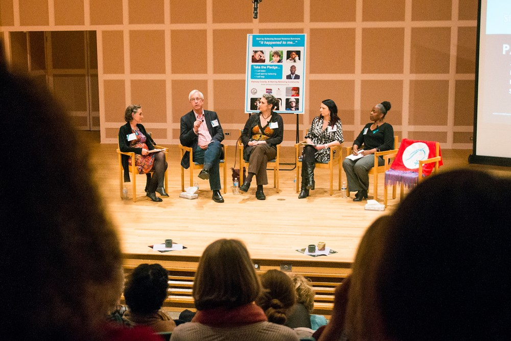 Sexual assault survivors speak during a Panel of Hope at the Ramsey County Start By Believing event at Hamline University in St. Paul on April 13.