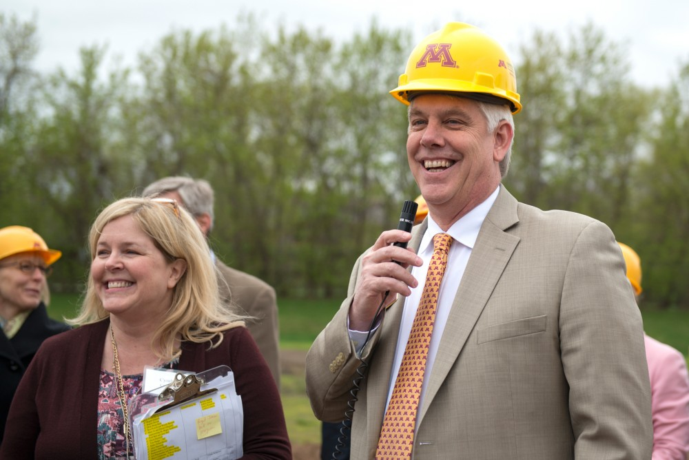 Dean of the College of Food, Agriculture and Natural Resources Brian Buhr speaks at the groundbreaking ceremony for the new Bell Museum on the St. Paul Campus on Friday morning.