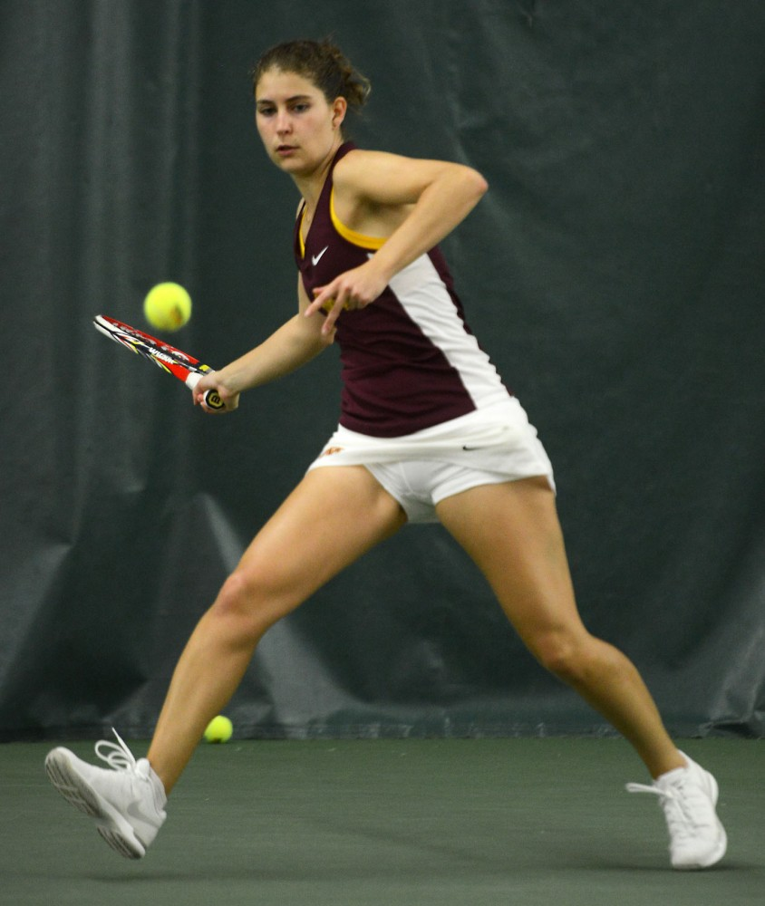 Gophers Senior Paula Rincon-Otero plays against Rutgers University in the Baseline Tennis Center on Sunday afternoon.
