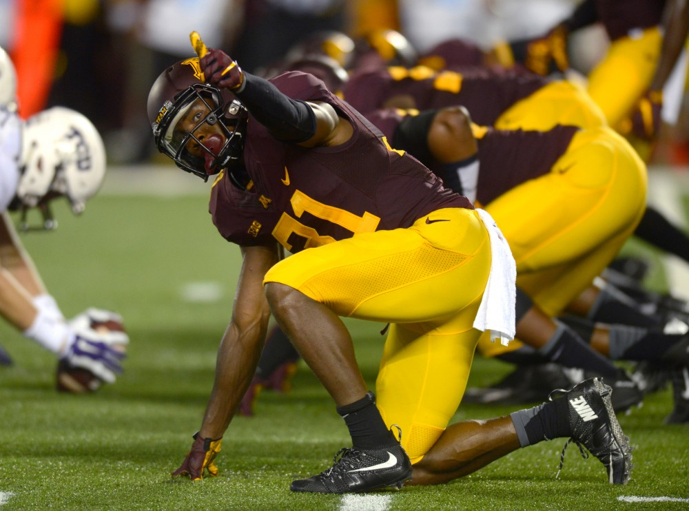 Minnesota defensive back Eric Murray gives a thumbs up moments before a play on Sept. 3 at TCF Bank Stadium where the Gophers faced Texas Christian University.