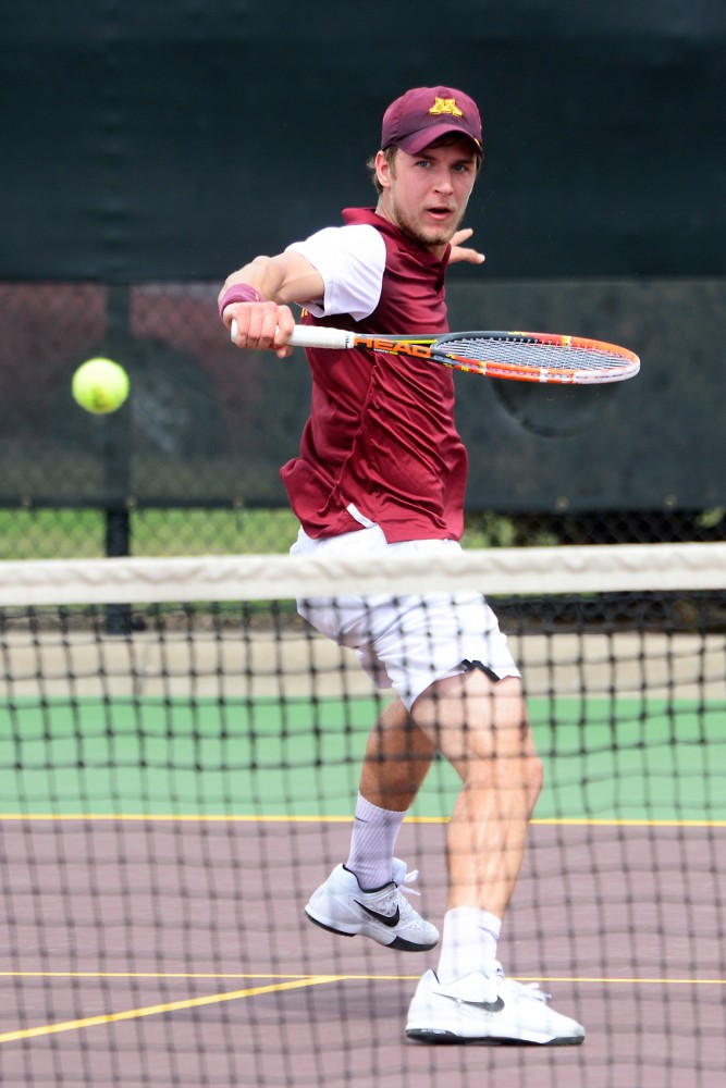 Sophomore Matic Spec plays against Penn State at Baseline Tennis Center on Sunday, April 17.