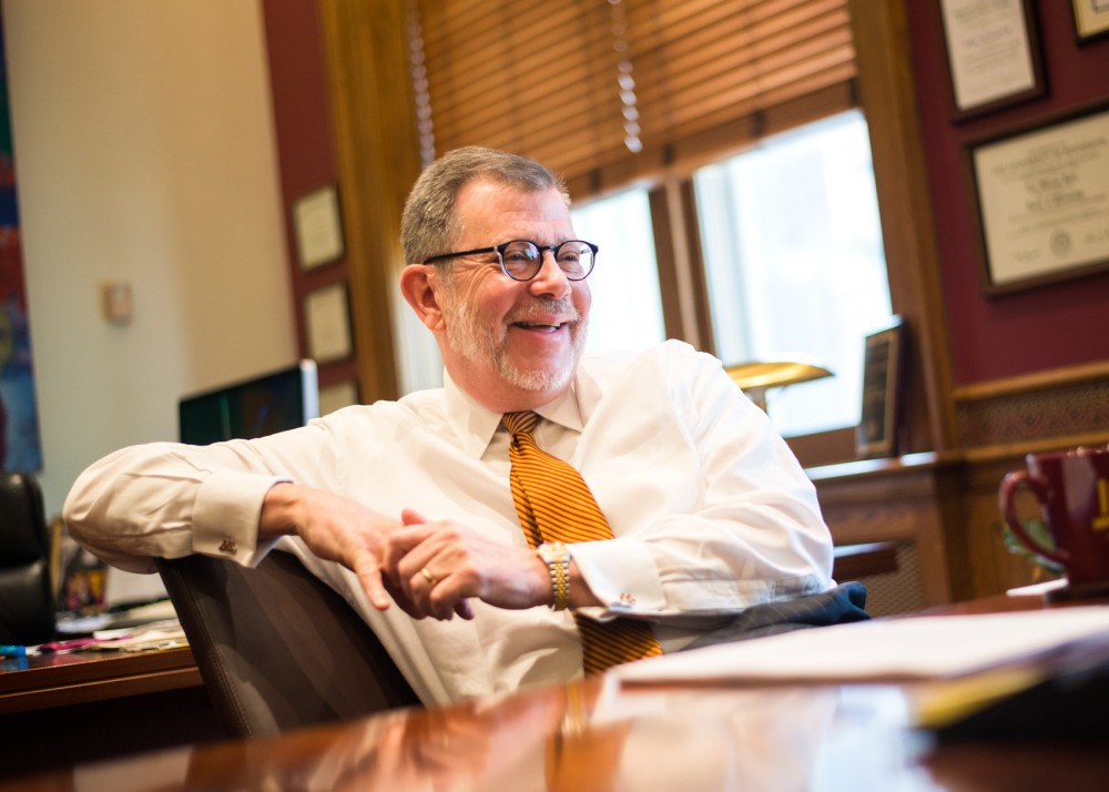 University president Eric Kaler answers questions for the Minnesota Daily in his office on Monday morning.