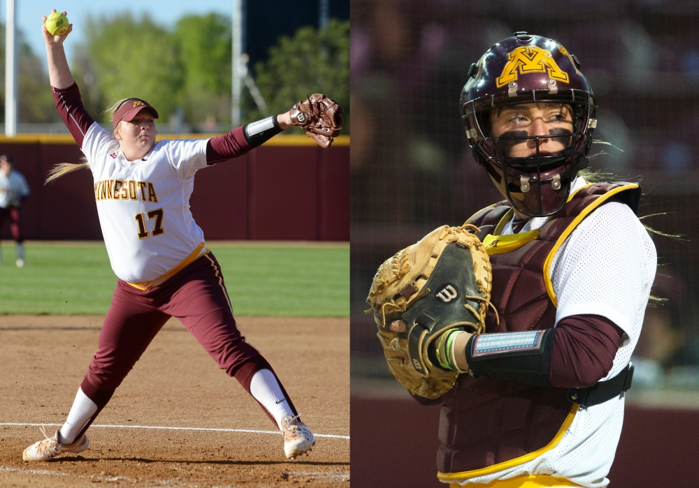 Left, junior pitcher Sara Groenewegen throws the ball at Jane Sage Cowles Stadium on April 30. Right, senior catcher Taylor LeMay prepares for the start of the inning during the second game of the border battle doubleheader against Wisconsin at Jane Sage Cowles Stadium on April 12.