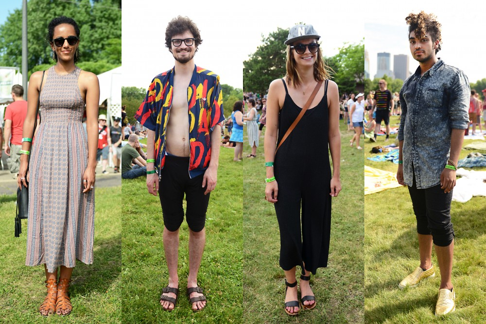 Left to right, Rim Woldeslassie, Nathan Walker, Erin Colasacco and Isa Sponslier pose for portraits at Rock the Garden 2016 at Boom Island Park on Saturday.