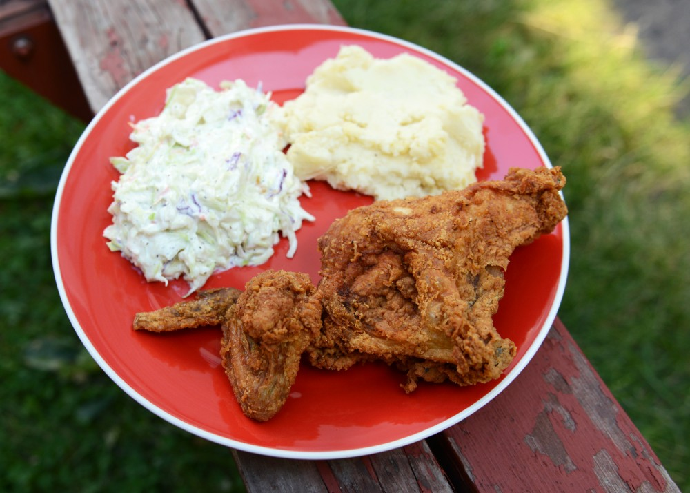Fried chicken, mashed potatoes and coleslaw are perfect dishes for a summer meal.