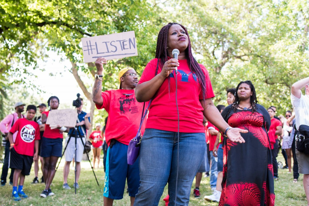 President of the Minneapolis NAACP, Nekima Levy-Pounds speaks to a large crowd at a rally in support of Philando Castile at Loring Park on July 9.