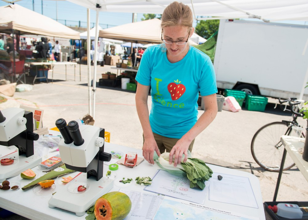 University of Minnesota student Stephanie Erlandson works at the Market Science tent at the Midtown Farmers Market on Saturday. The Market Science program encourages kids to learn about the science behind food by providing fun activities for them to participate in while at the market.