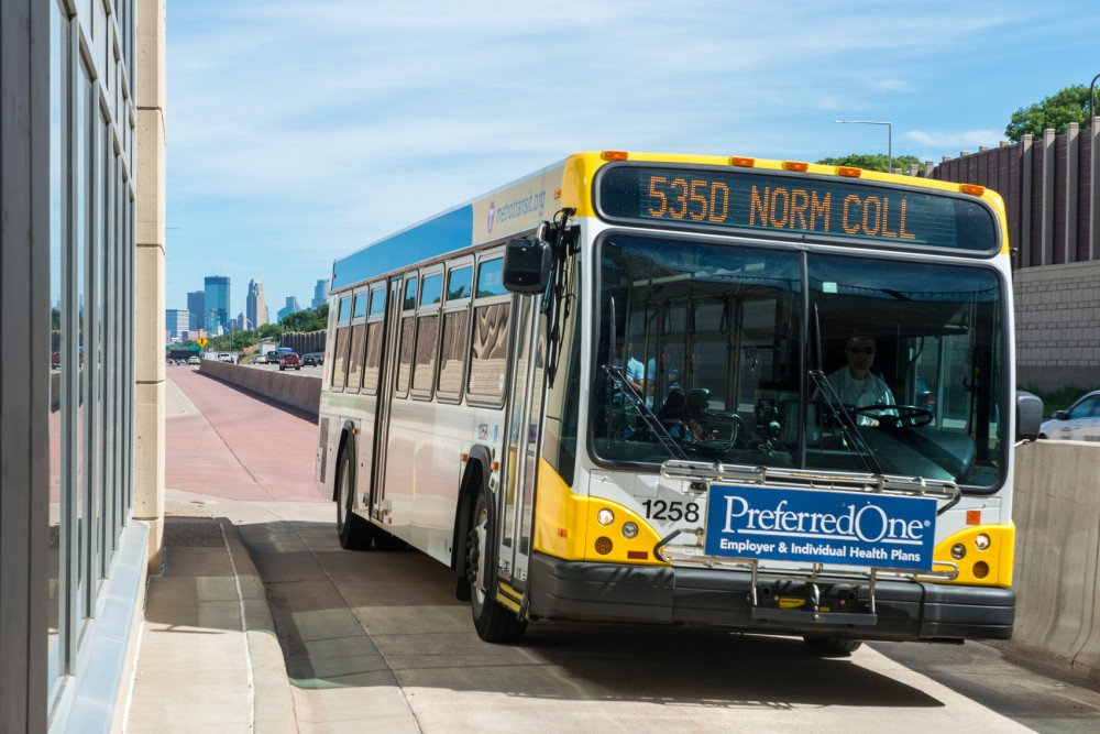 A 535D bus bound for Normandale Community College pulls into the  I-35W & 46th Street Station on Tuesday. A new University study finds public transit as the most important link and limitation between job seekers and   their quest to find and hold employment, as many positions are far away from citizens homes.