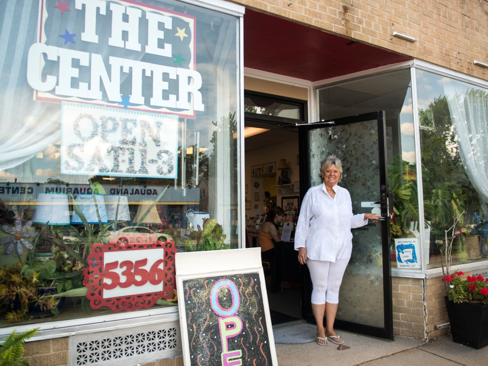 Echo Bodine stands at the entrance to her Center for Spiritual Development in Minneapolis. Bodine is a well-known psychic, medium, teacher and author. She discovered her psychic ability at a young age and has spent her life teaching others about the spiritual world.