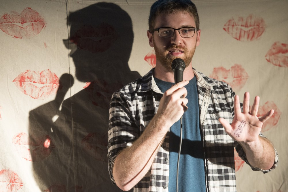Local comedian Jacob Blank performs stand-up for the