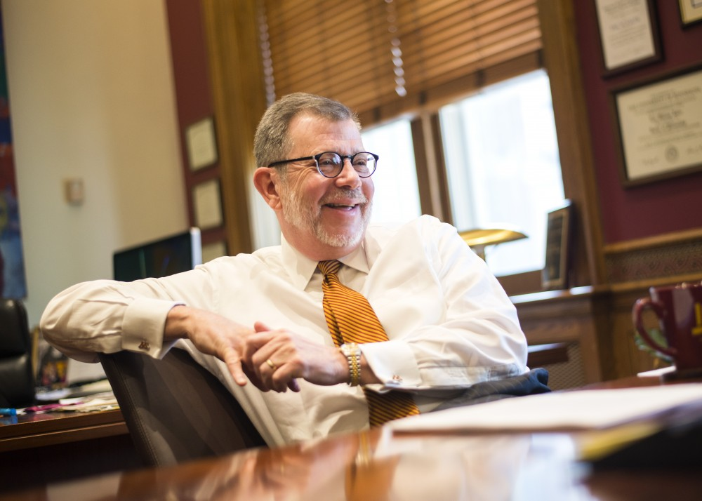 University President Eric Kaler answers questions for the Minnesota Daily in his office on Mar. 3, 2016.