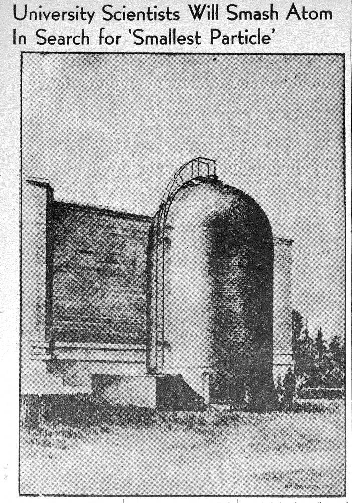 Minnesota Daily Archive Photo of the original Van de Graaff, image originally published July 26, 1938.