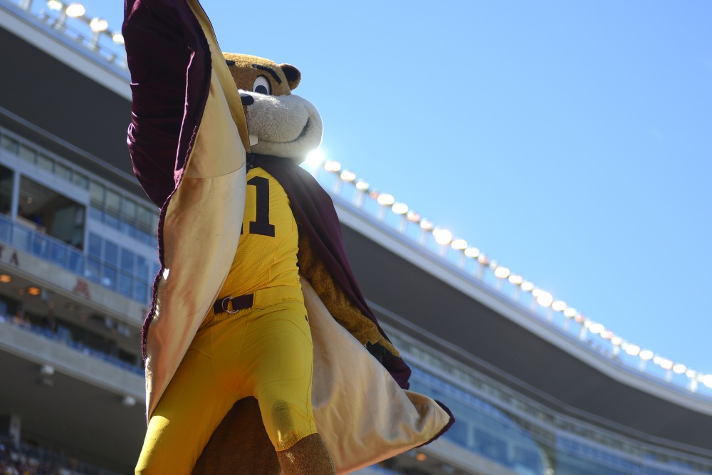 Goldy Gopher works the crowd at TCF Bank Stadium during the game against Indiana State on Saturday, Sept. 10, 2016.