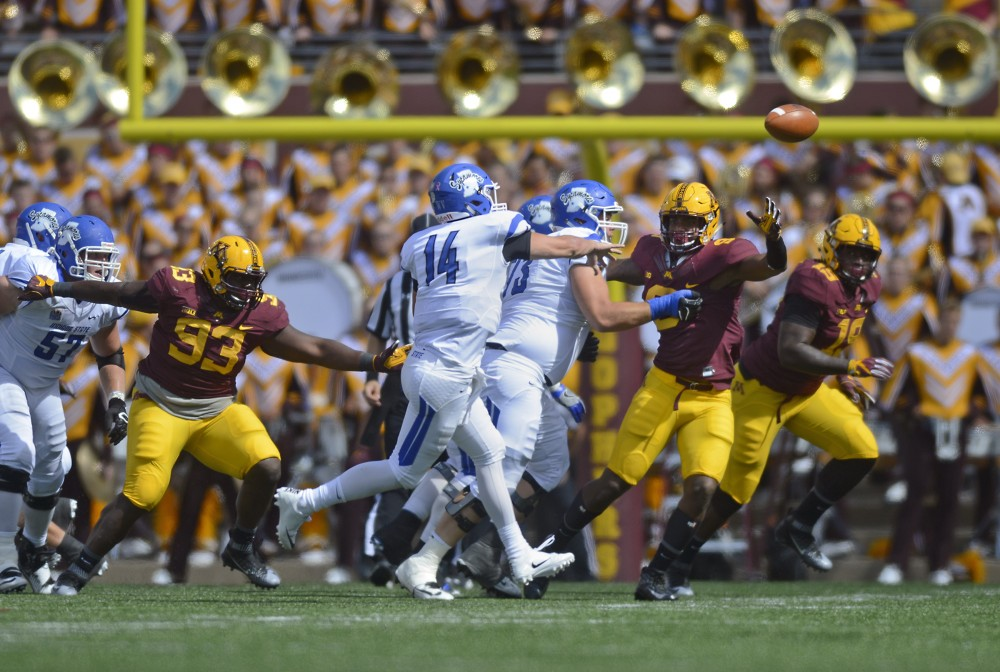 Redshirt sophomore Jerry Gibson passes the ball on Saturday, Sept 10, 2016 at TCF Bank Stadium while playing against Indiana State.
