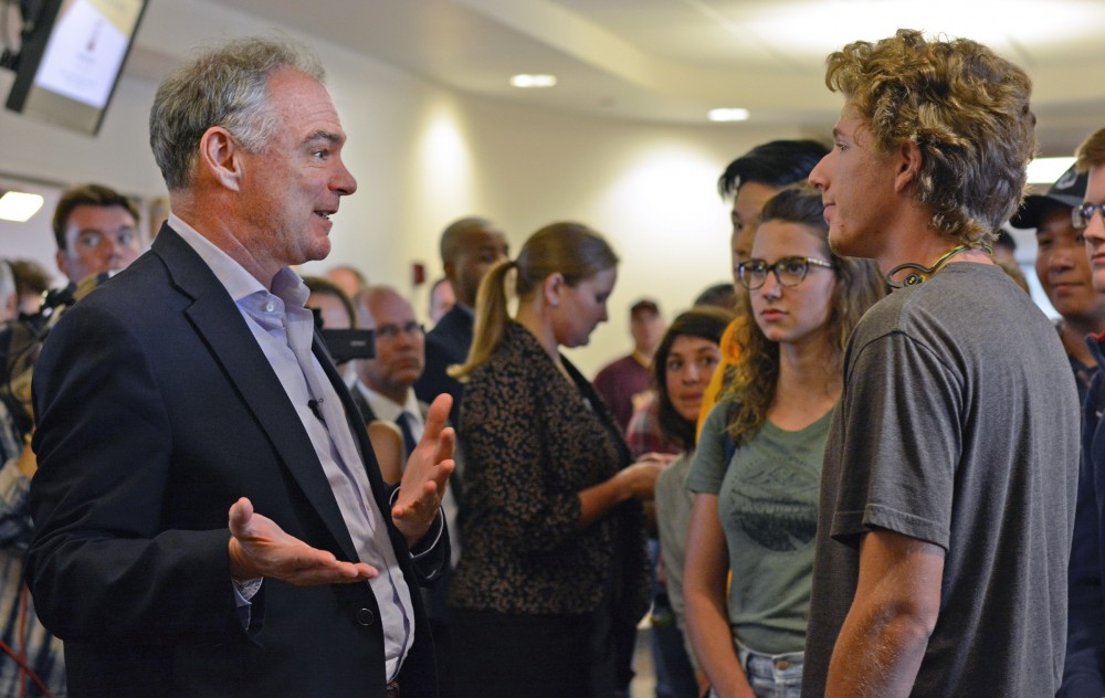 Democratic Vice Presidential candidate Tim Kaine talks to students on Tuesday, Sept. 13, 2016 at Coffman Memorial Union. Kaine was on campus for a surprise visit to engage with students one-on-one about issues important to them.