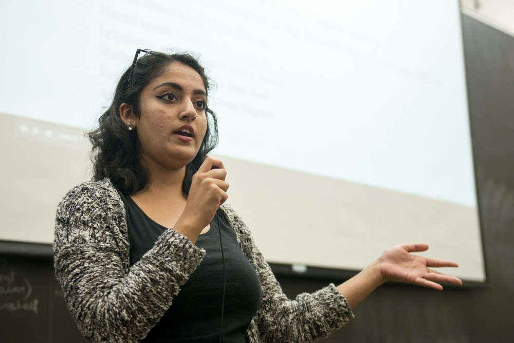 Minnesota Student Association President Abeer Syedah speaks during the Associations forum in Mondale Hall on Tuesday, Sept. 13, 2016.