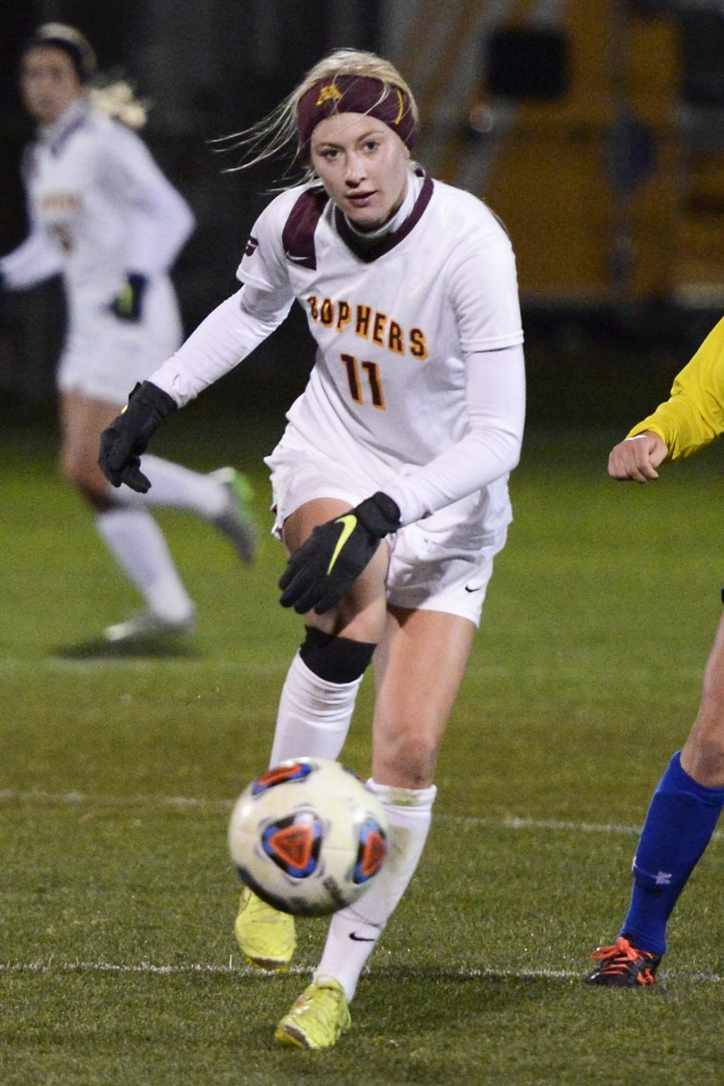 Gophers midfielder Josee Stiever kicks the ball downfield at Elizabeth Lyle Robbie Stadium against South Dakota State on Friday, Nov. 12, 2015.