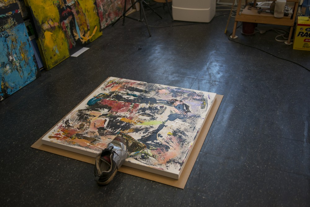 A work in progress by painter Shawn McNulty sits on the floor of his studio on Sept. 9, 2016.